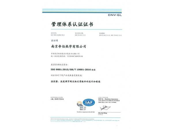 ISO9001中文证书